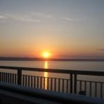 Закат на набережной реки Кама в Перми