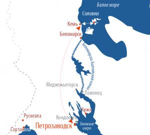 Карта маршрута Петрозаводск - Соловки - Петрозаводск