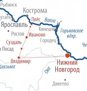 Карта маршрута Нижний Новгород - Владимир - Суздаль - Иваново - Плёс